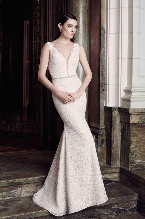 Plunging Lace Wedding Dress - Style #2016 | Mikaella Bridal