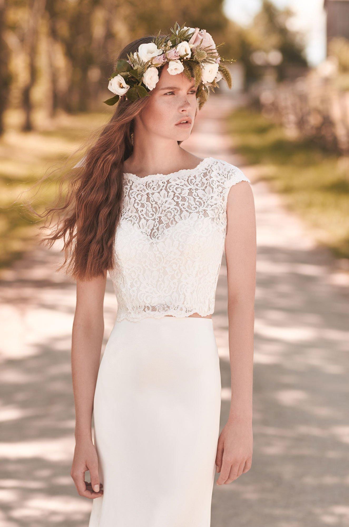 Crop Top Wedding Dress – Style #2053 | Mikaella Bridal