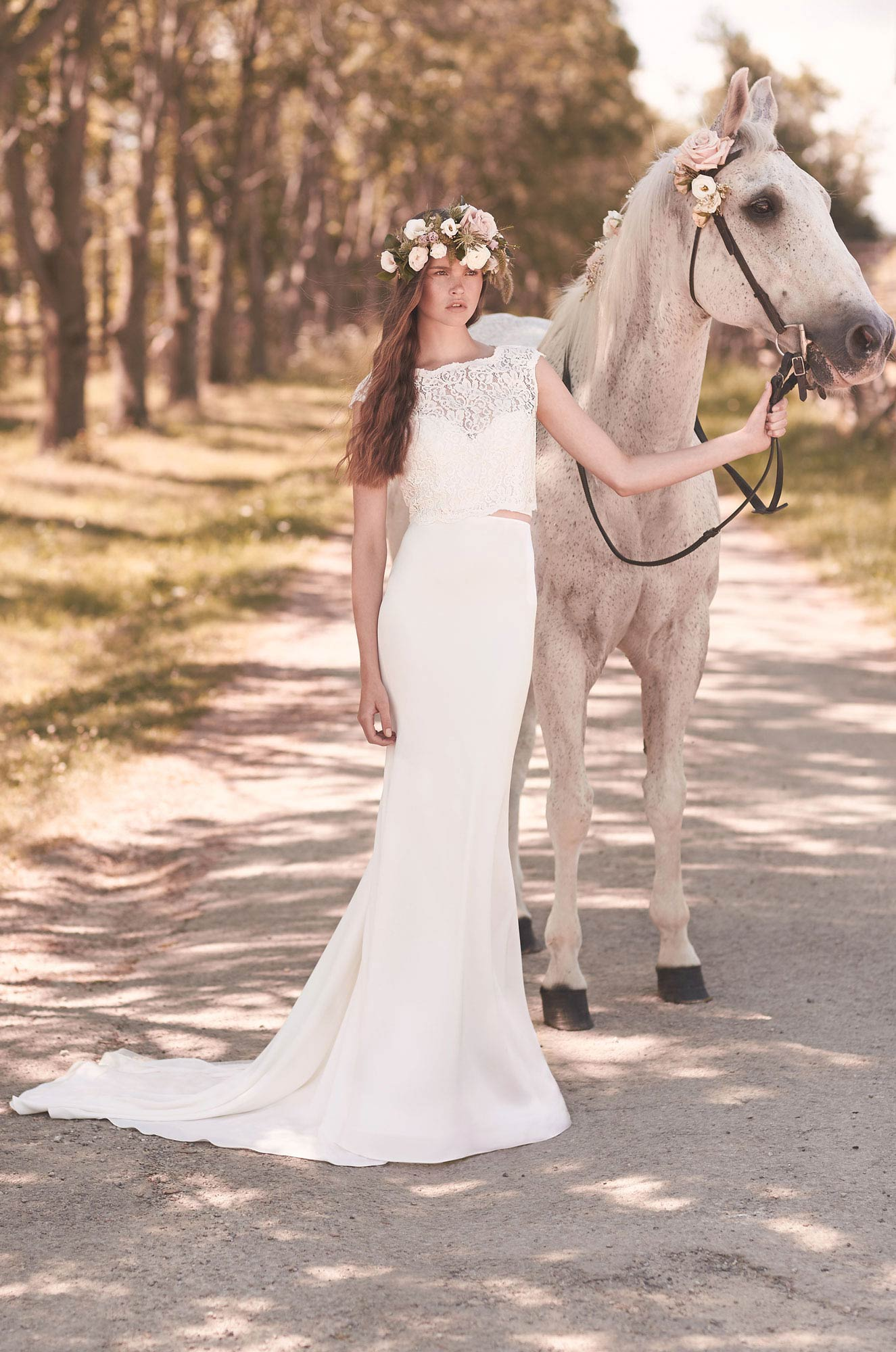 Crop Top Wedding Dress - Style #2053 | Mikaella Bridal
