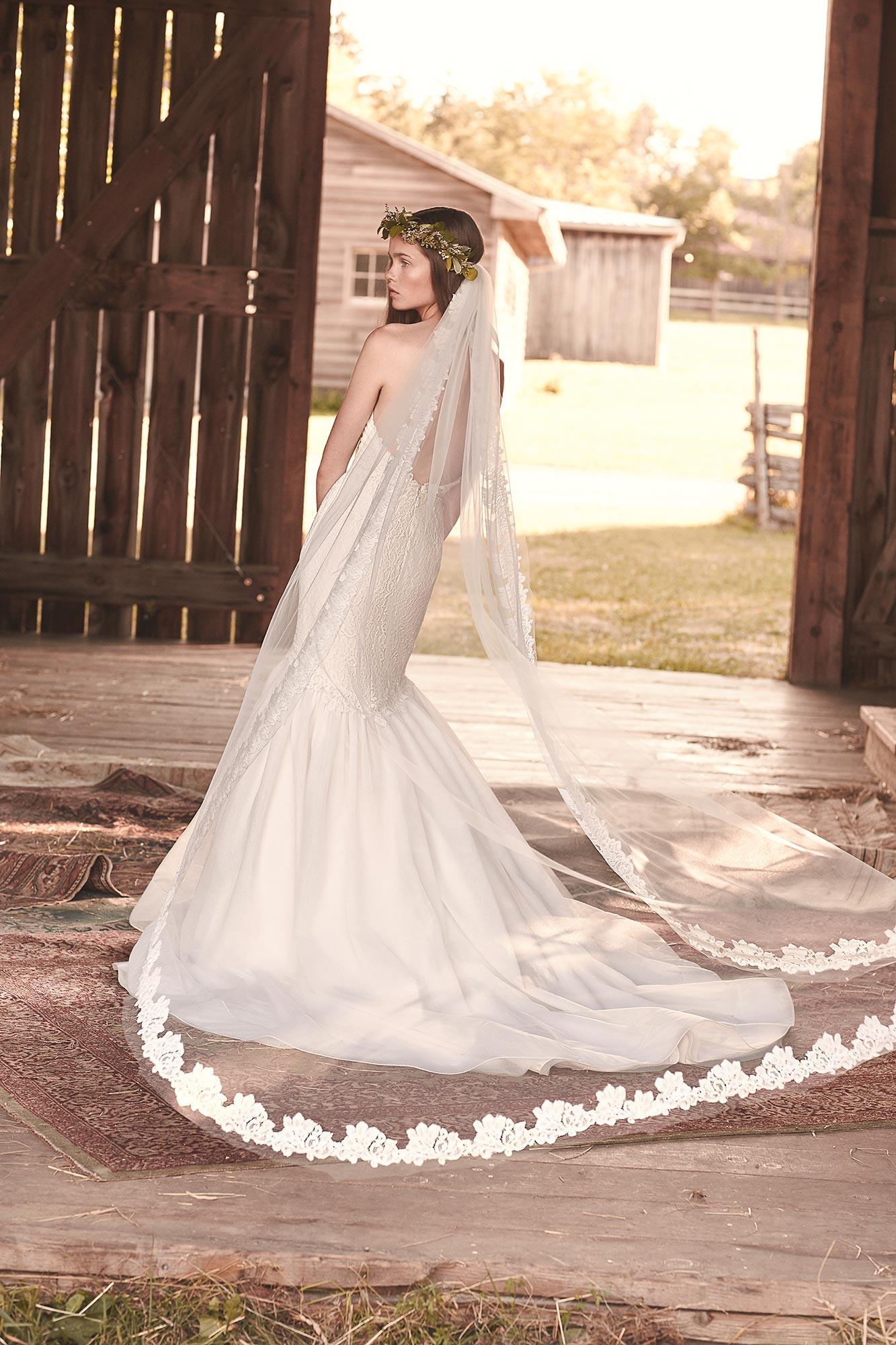 Lace Edge Chapel Length Veil – Style # VM458C | Mikaella Bridal