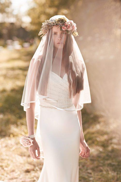 Crêpe Trimmed Veil - Style #VM459F | Mikaella Bridal