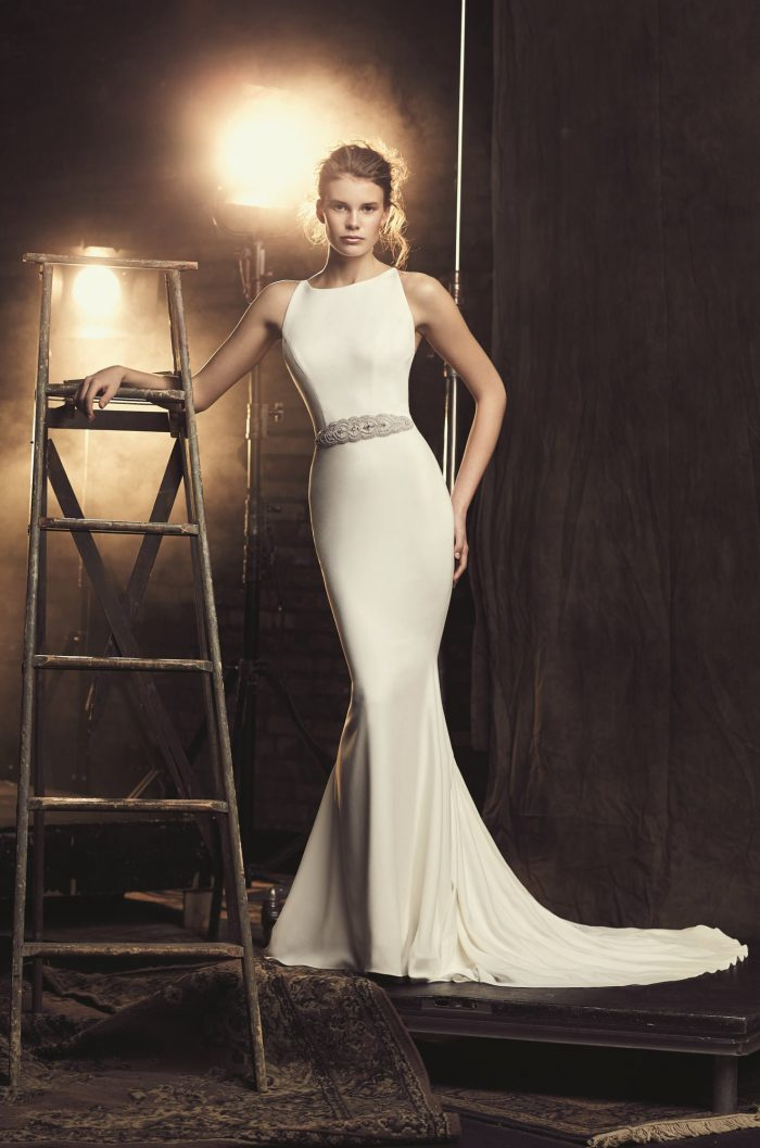 Fitted Crêpe Wedding Dress - Style #2090 | Mikaella Bridal