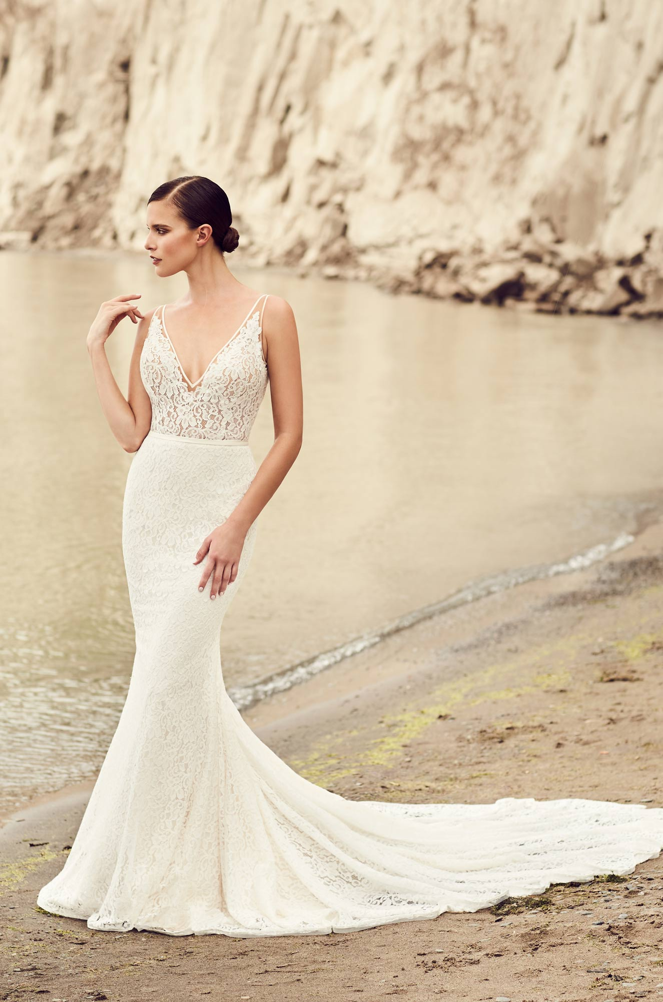 Deep V-Neck Wedding Dress – Style #2100 | Mikaella Bridal