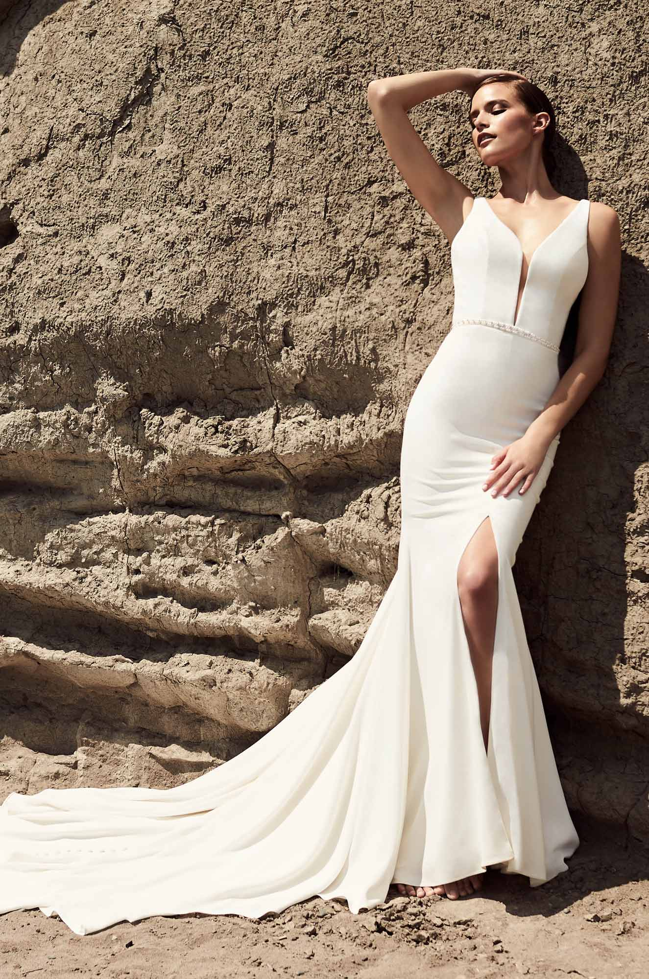 Skirt Slit Wedding Dress – Style #2107 | Mikaella Bridal