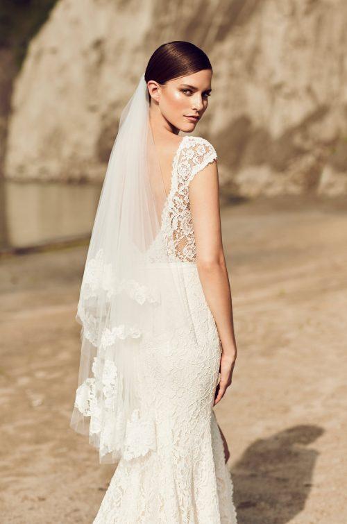 Scattered Mikaella Lace Fingertip Veil - Style #VM475F | Mikaella Bridal