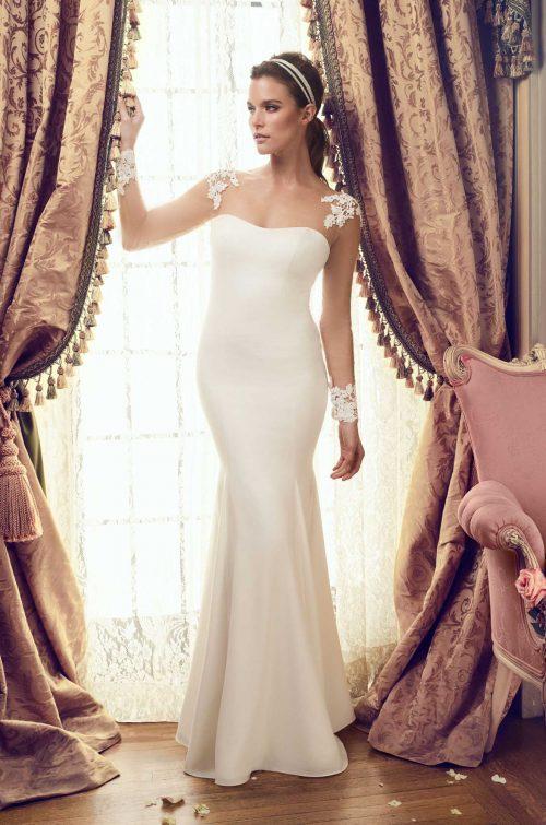 Tulle Sleeve Wedding Dress - Style #2151 | Mikaella Bridal