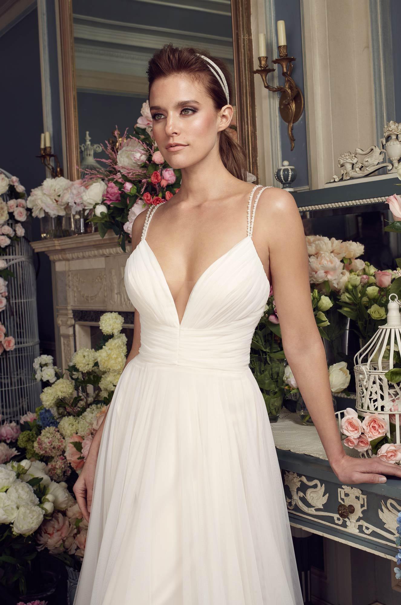 Gathered Tulle Wedding Dress - Style #2155
