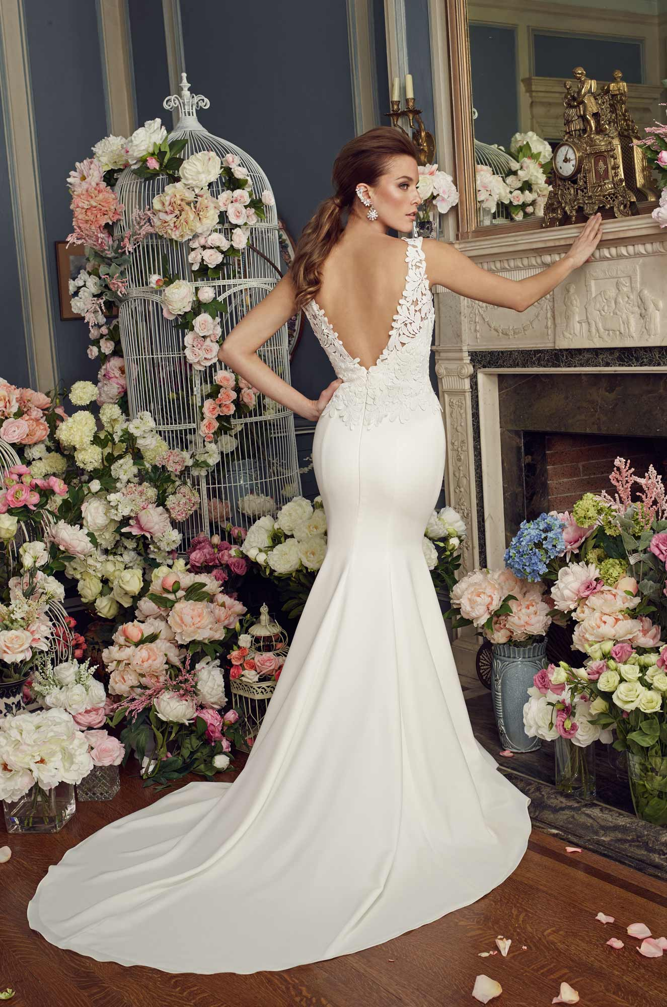 Bold Lace Bodice Wedding Dress - Style #2156 | Mikaella Bridal