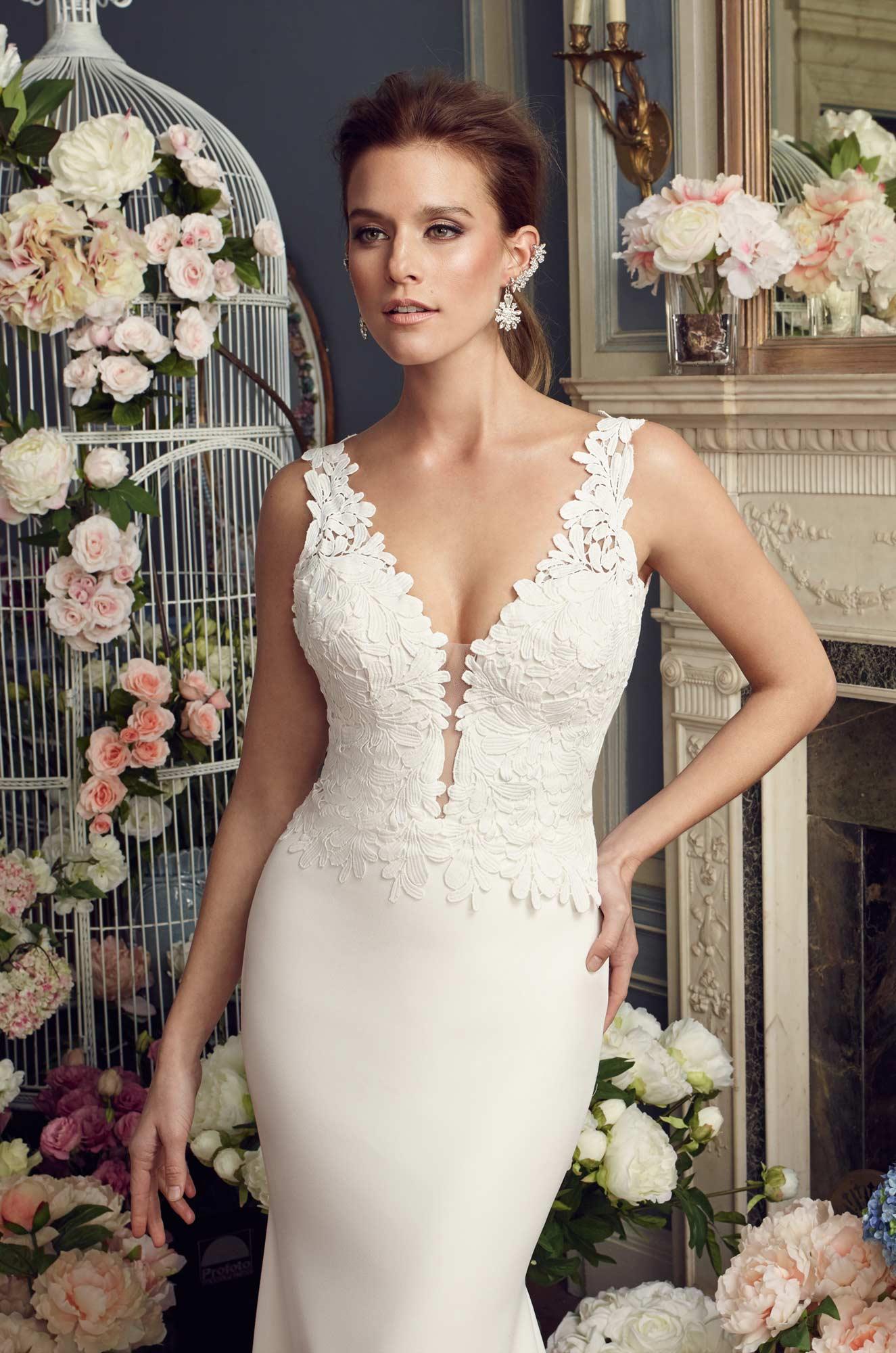 Bold Lace Bodice Wedding Dress - Style #2156   Mikaella Bridal