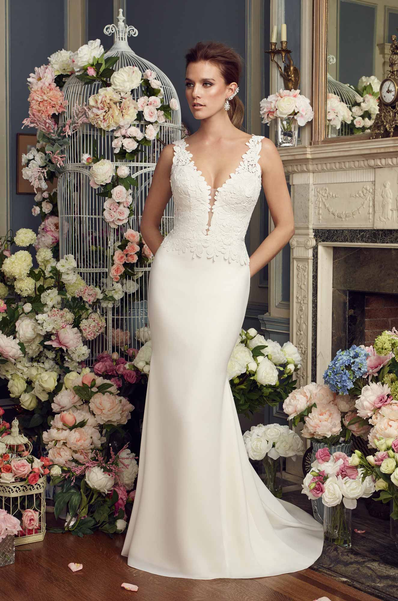 Bold Lace Bodice Wedding Dress – Style #2156 | Mikaella Bridal