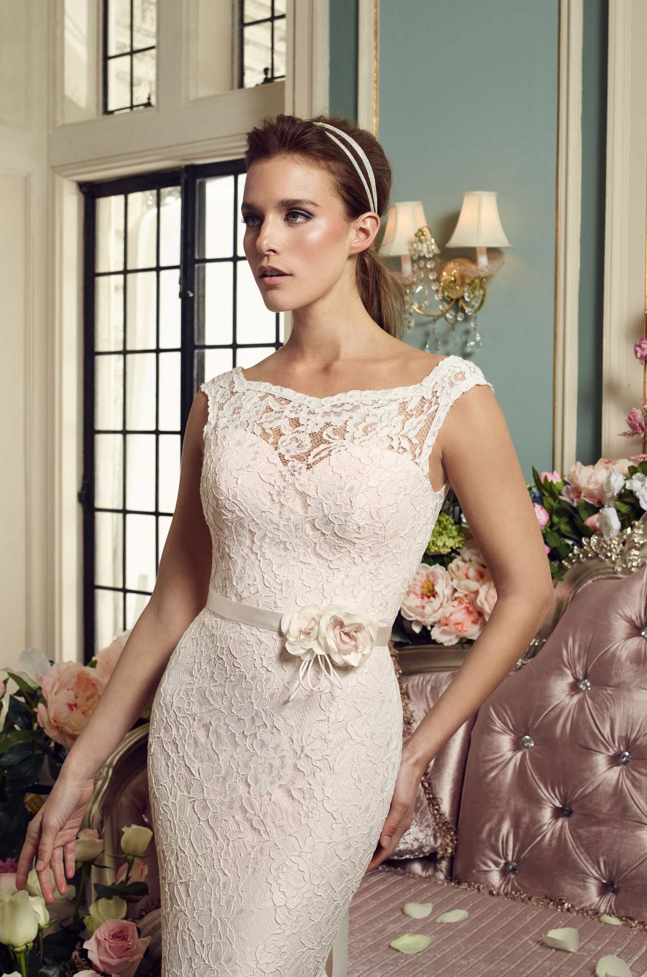 Floral Accent Wedding Dress - Style #2157 | Mikaella Bridal
