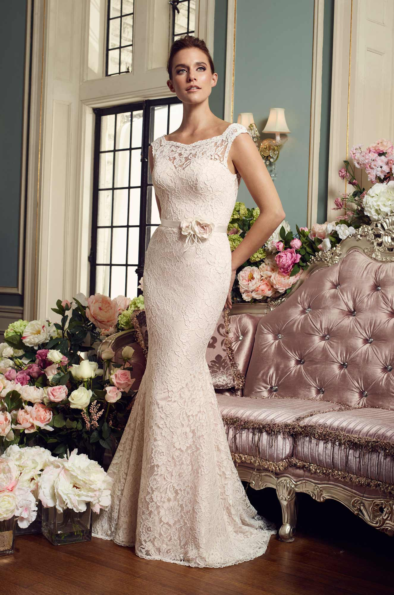 Floral Accent Wedding Dress – Style #2157 | Mikaella Bridal