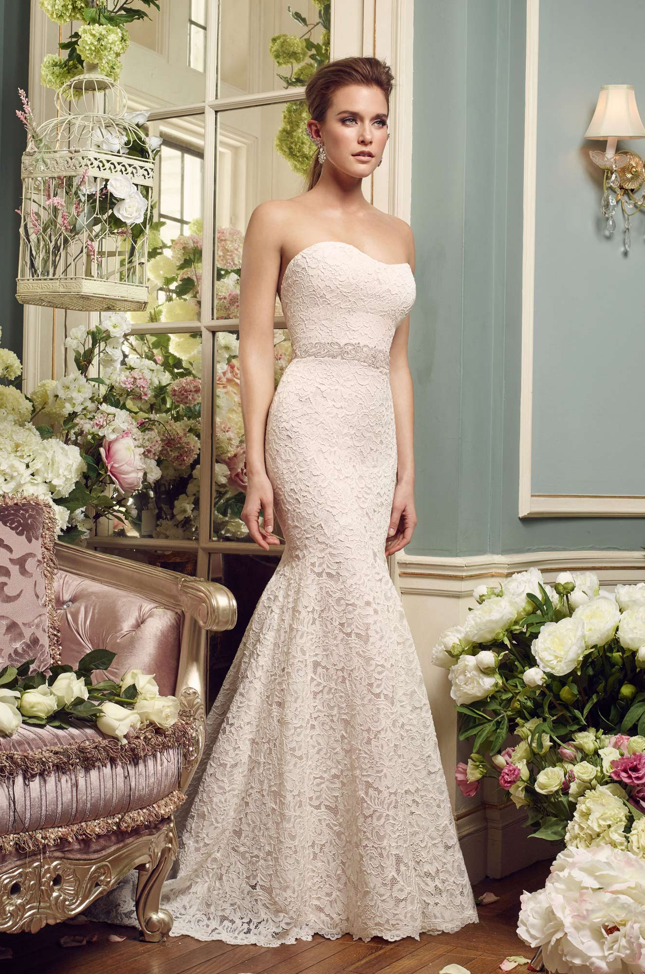 Strapless Lace Wedding Dress – Style #2165 | Mikaella Bridal