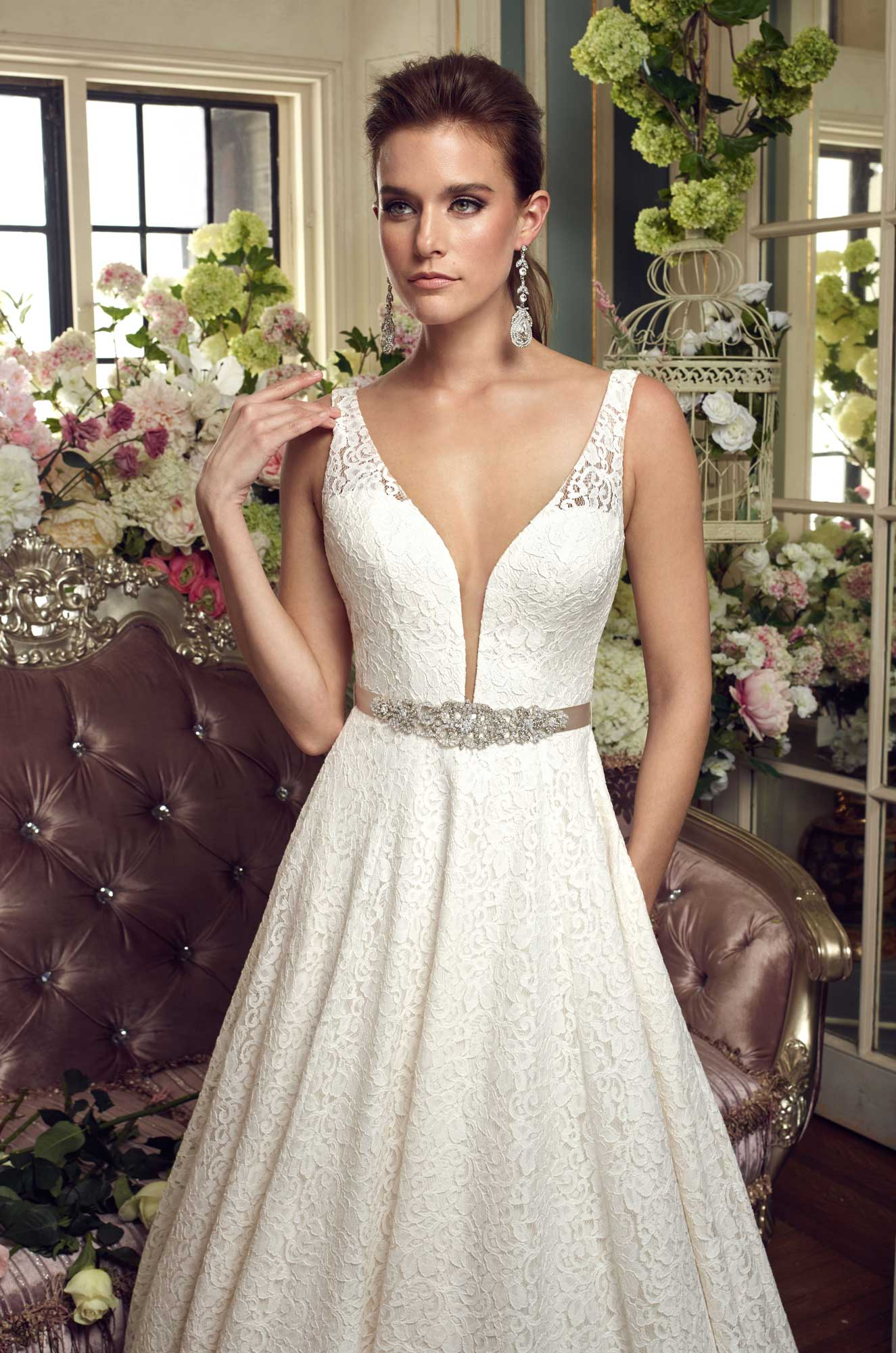 Lace Ball Gown Wedding Dress Style 2167 Mikaella Bridal