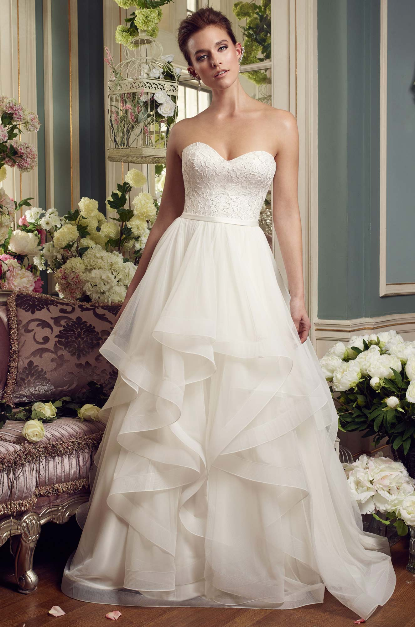 Cascading Ruffles Wedding Dress – Style #2168 | Mikaella Bridal
