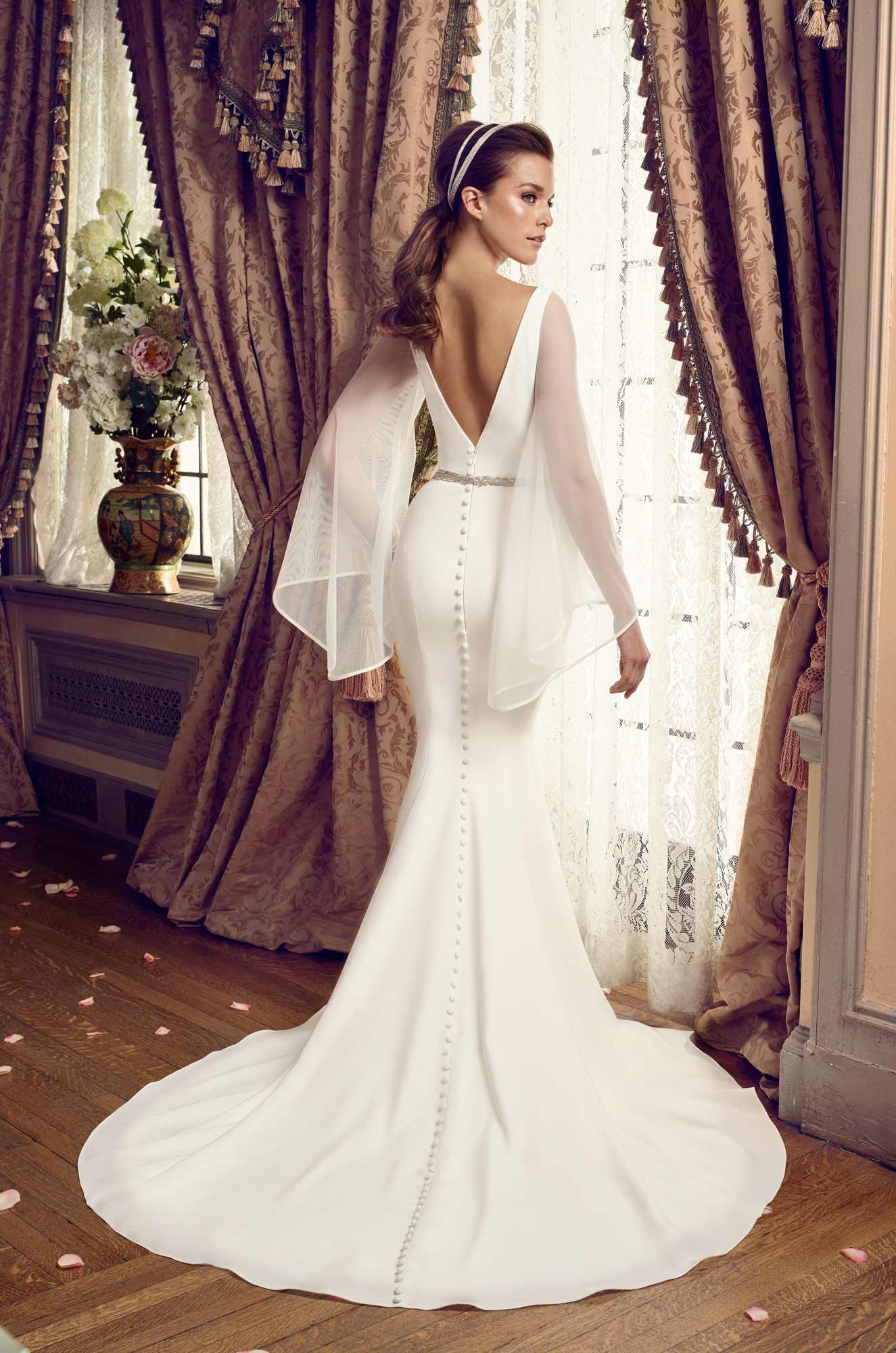 Bell Sleeve Wedding Dress Style 2169 Mikaella Bridal