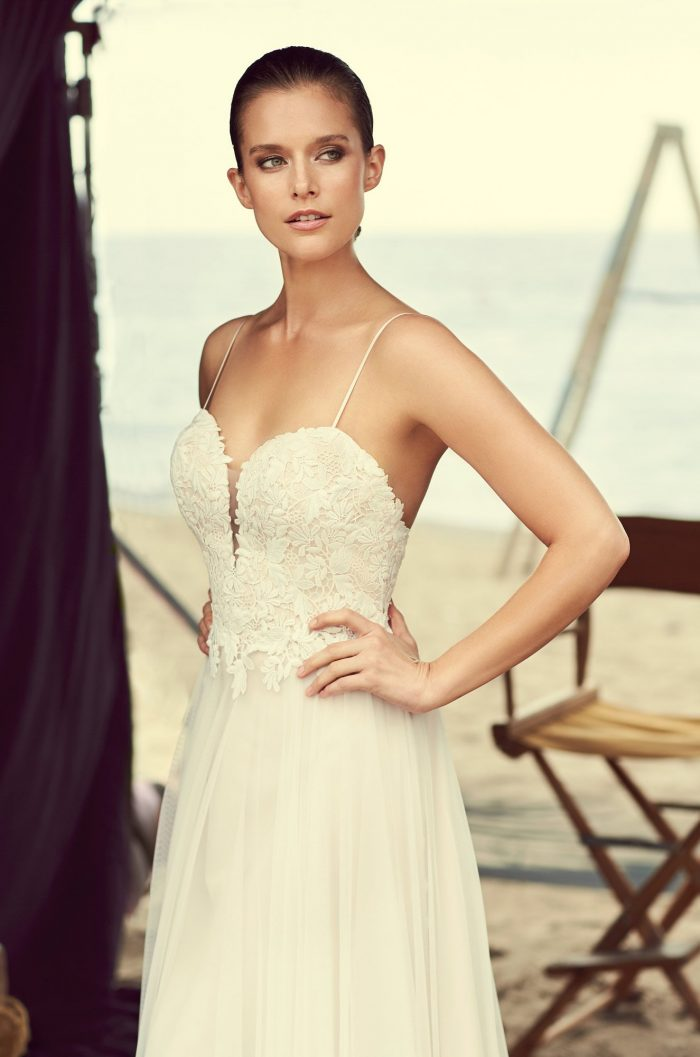 Plunging Sweetheart Wedding Dress - Style #2180 | Mikaella Bridal
