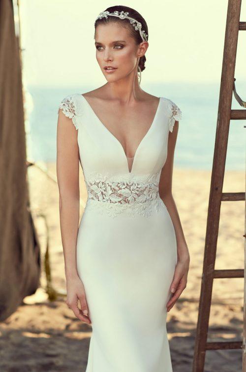 Sheer Midriff Wedding Dress - Style #2181   Mikaella Bridal