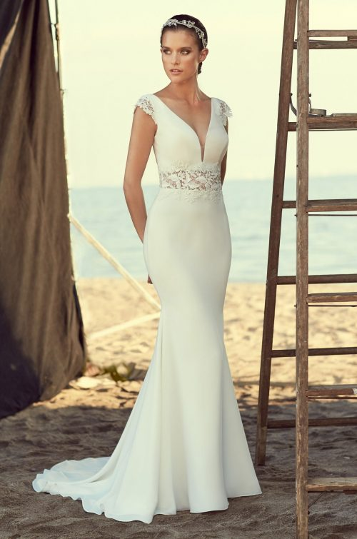 Sheer Midriff Wedding Dress - Style #2181 | Mikaella Bridal