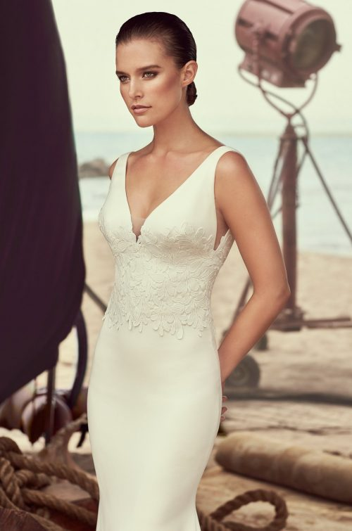 Sleeveless Crêpe Wedding Dress - Style #2184 | Mikaella Bridal