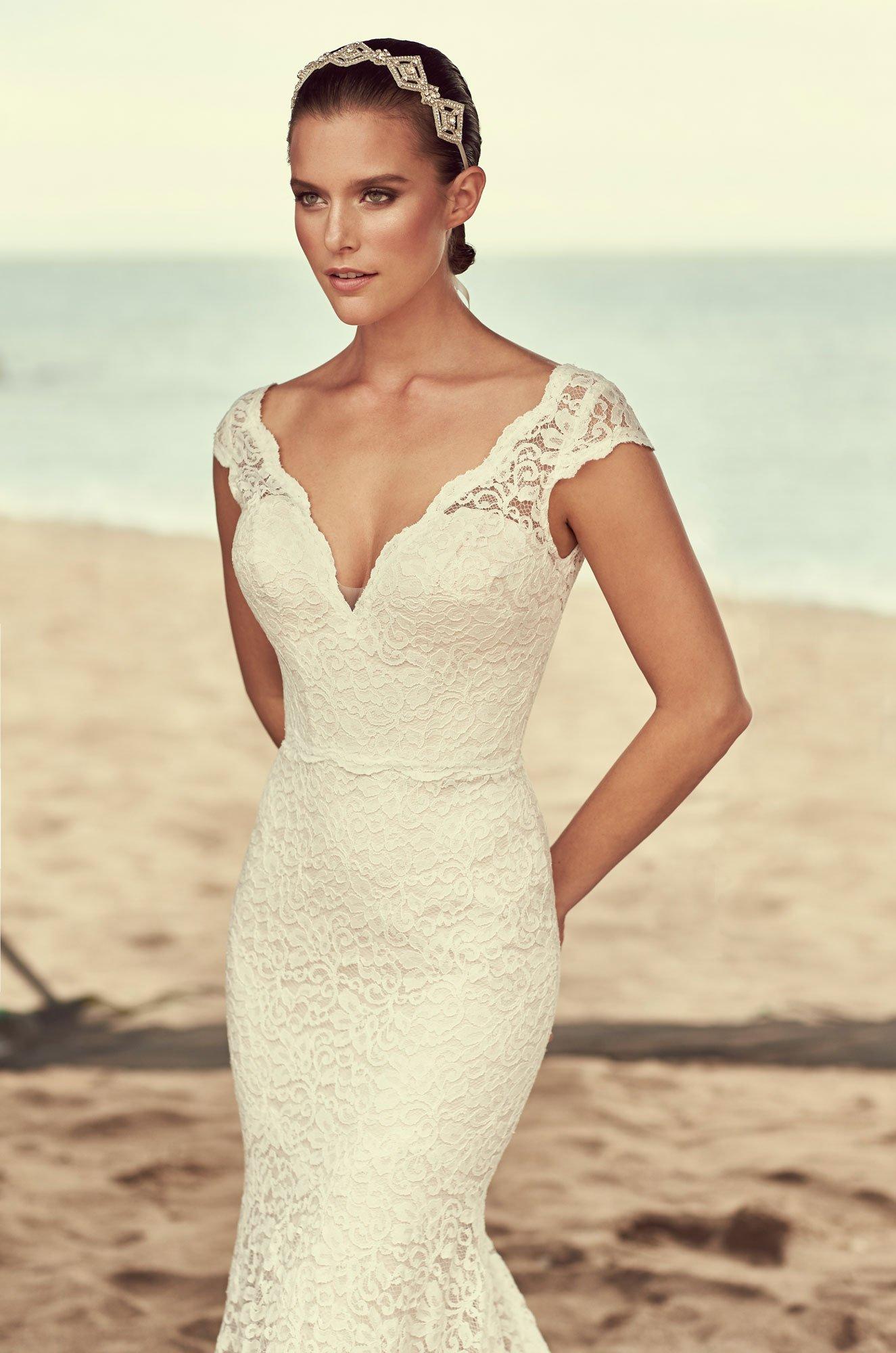 Scalloped Neckline Wedding Dress - Style #2189 | Mikaella Bridal