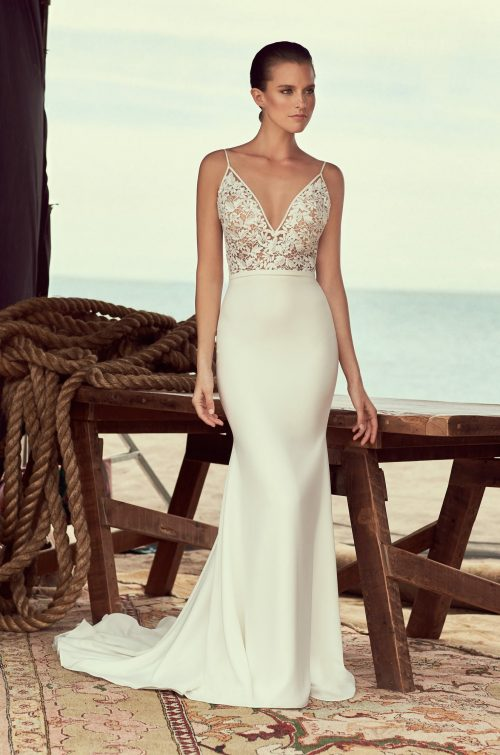 Sheer Lace Wedding Dress - Style #2190 | Mikaella Bridal