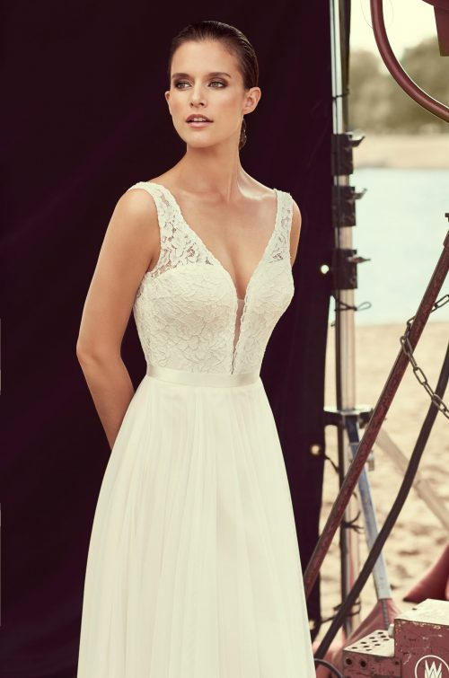 Scalloped Plunging Lace Wedding Dress - Style #2193 | Mikaella Bridal