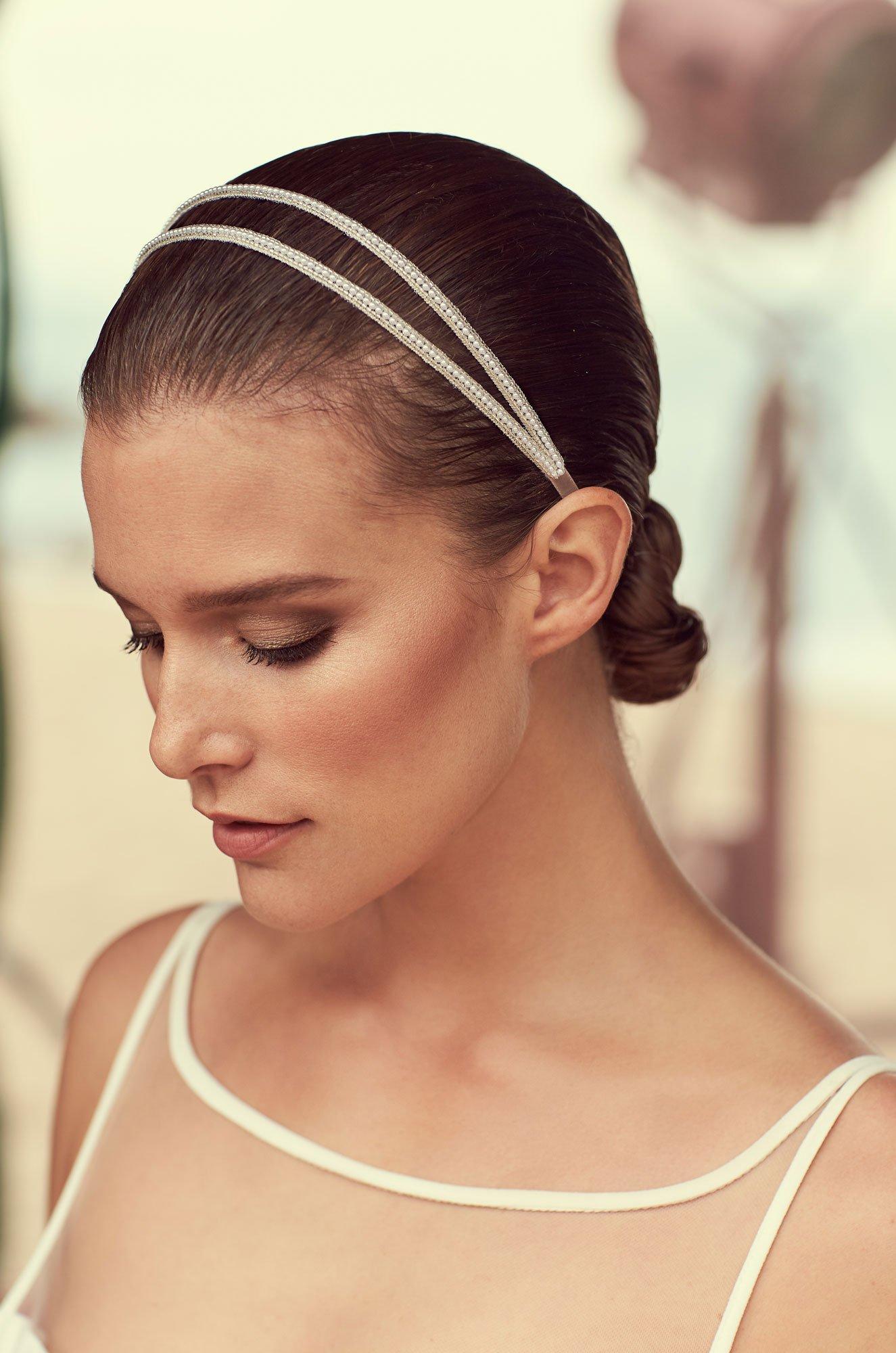 Double Pearl Beaded Hairband – Style #MHB100 | Mikaella Bridal