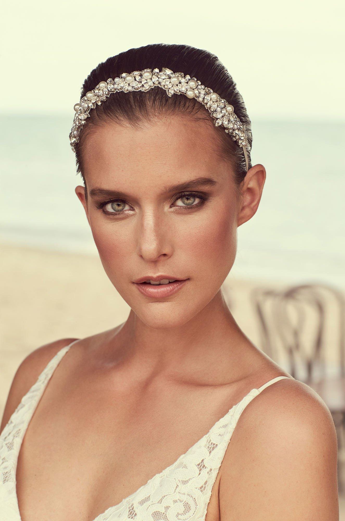 Rhinestone Pearl Bead Hairband – Style #MHB101 | Mikaella Bridal