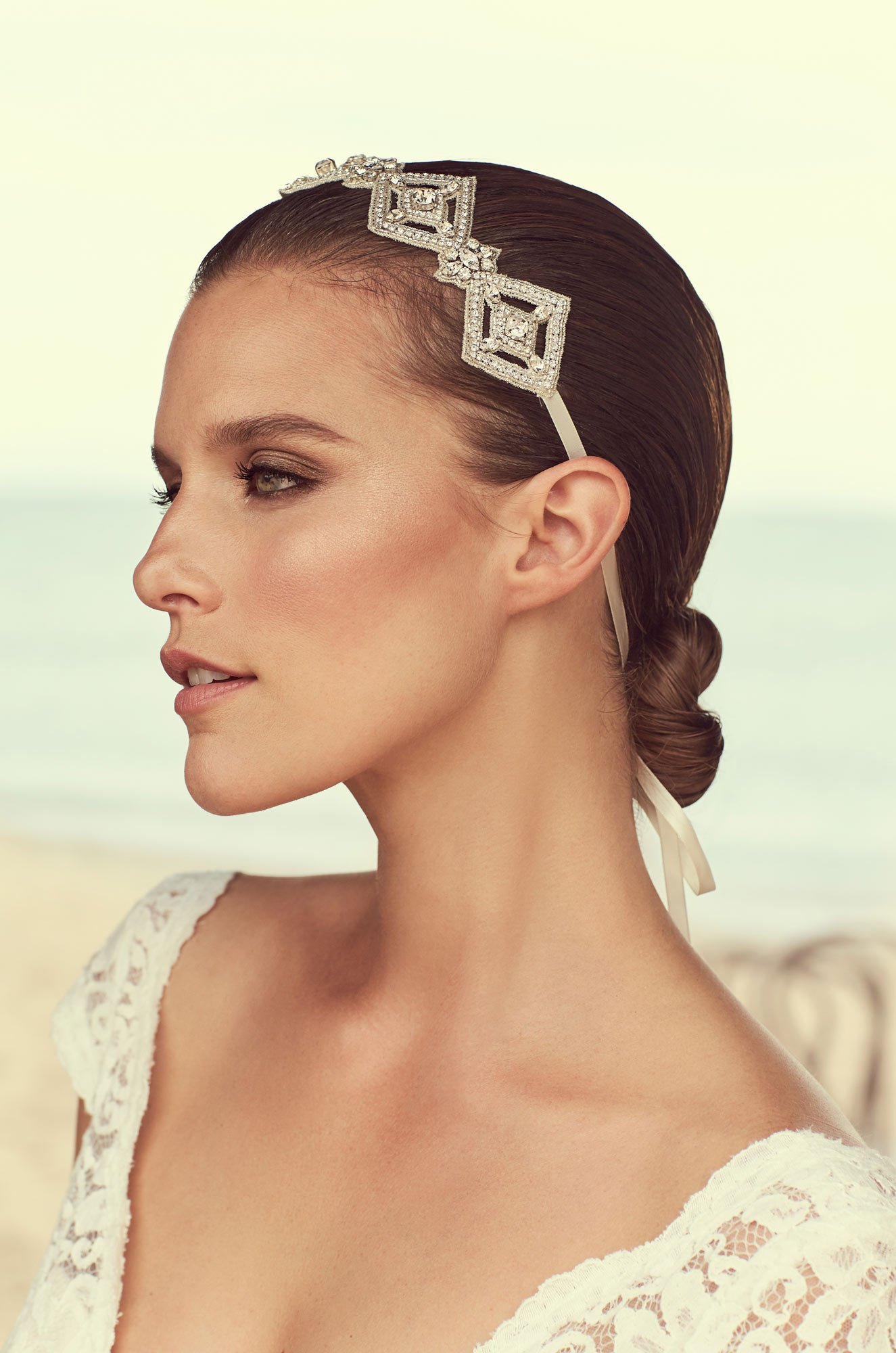 Diamond Shaped Beaded Hairband - Style #MHB102 | Mikaella Bridal