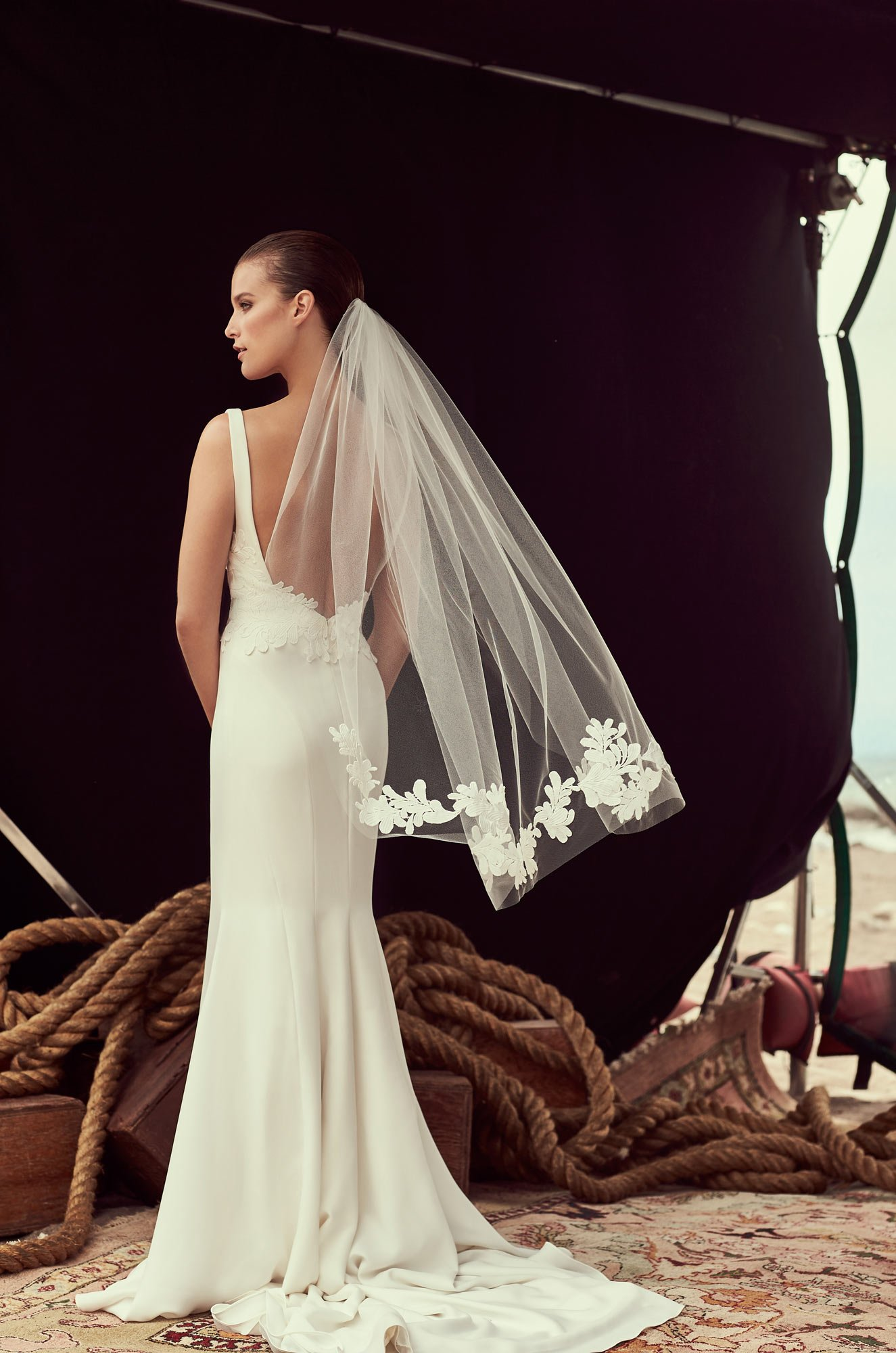 Guipure Lace Veil - Style #VM481F | Mikaella Bridal