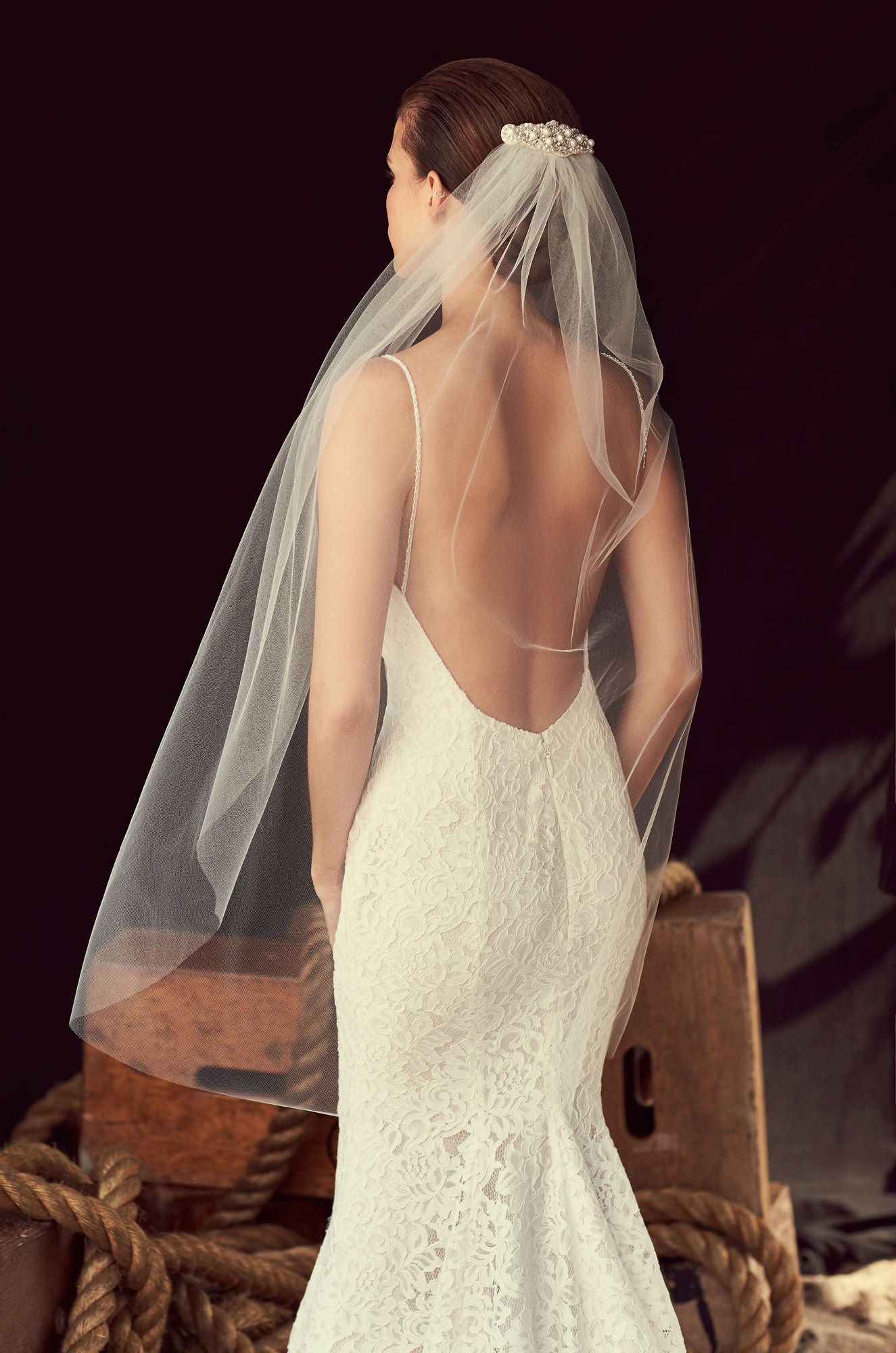 Beaded Appliqué Veil - Style #VM483F | Mikaella Bridal