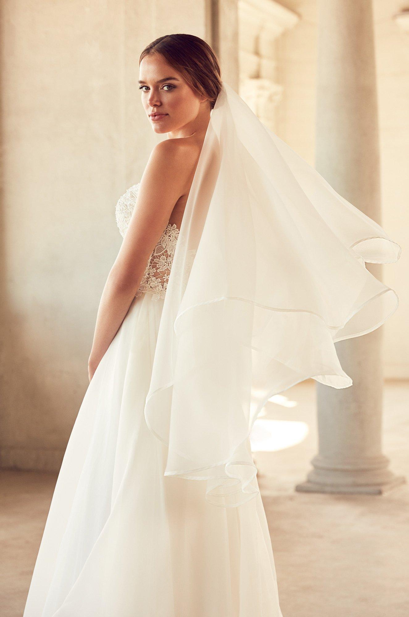 Two Tier Organza Veil – Style #VM485F | Mikaella Bridal