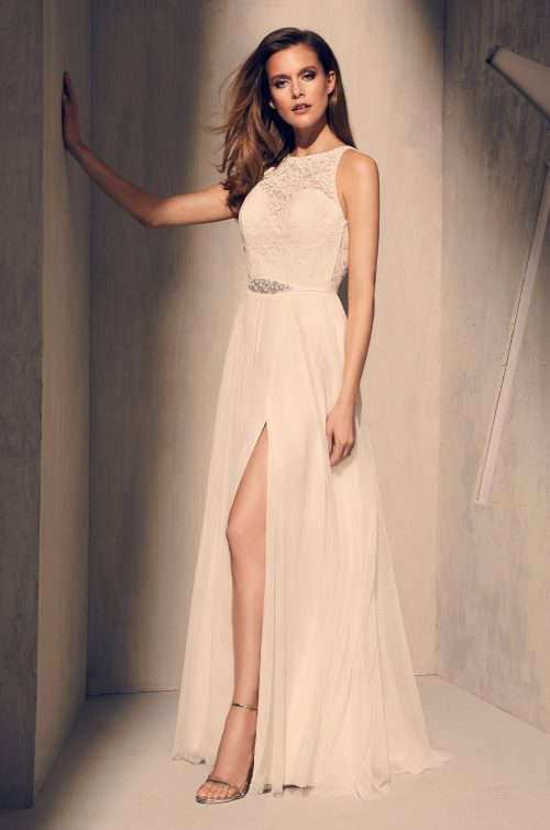 Elegant Skirt Slit Wedding Dress - Style #2202 | Mikaella Bridal