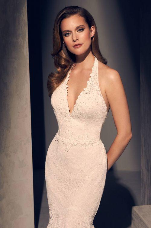 Beaded Halter Wedding Dress - Style #2205 | Mikaella Bridal