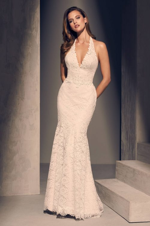 Beaded Halter Wedding Dress - Style #2205 | Mikaella Bridal