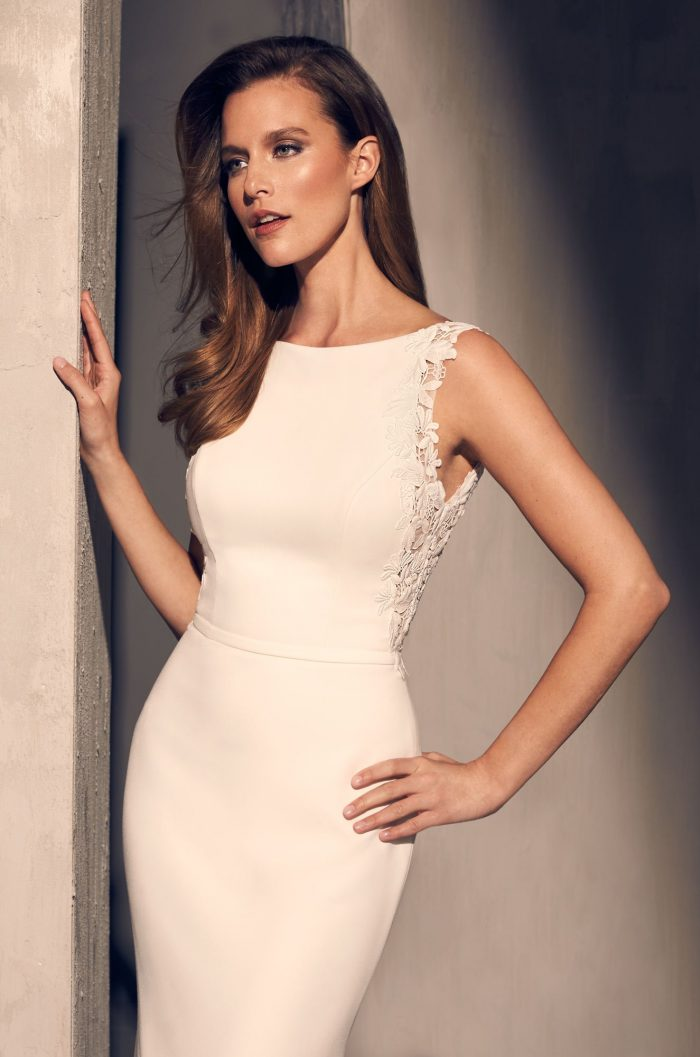 Crêpe Boat Neckline Wedding Dress - Style #2206 | Mikaella Bridal