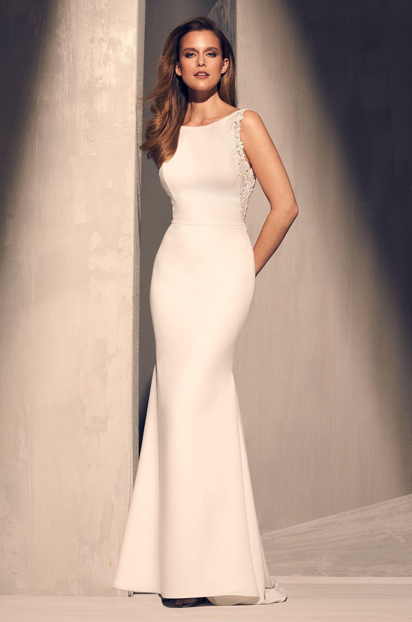 Crêpe Boat Neckline Wedding Dress - Style #2206   Mikaella Bridal