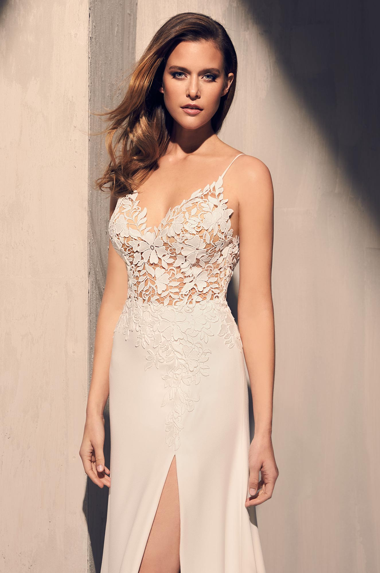 Sheer Floral Bodice Wedding Dress - Style #2208 | Mikaella Bridal