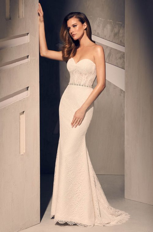 Sheer Corset Wedding Dress - Style #2209   Mikaella Bridal