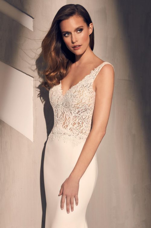 Lace Butterfly Back Wedding Dress - Style #2211 | Mikaella Bridal