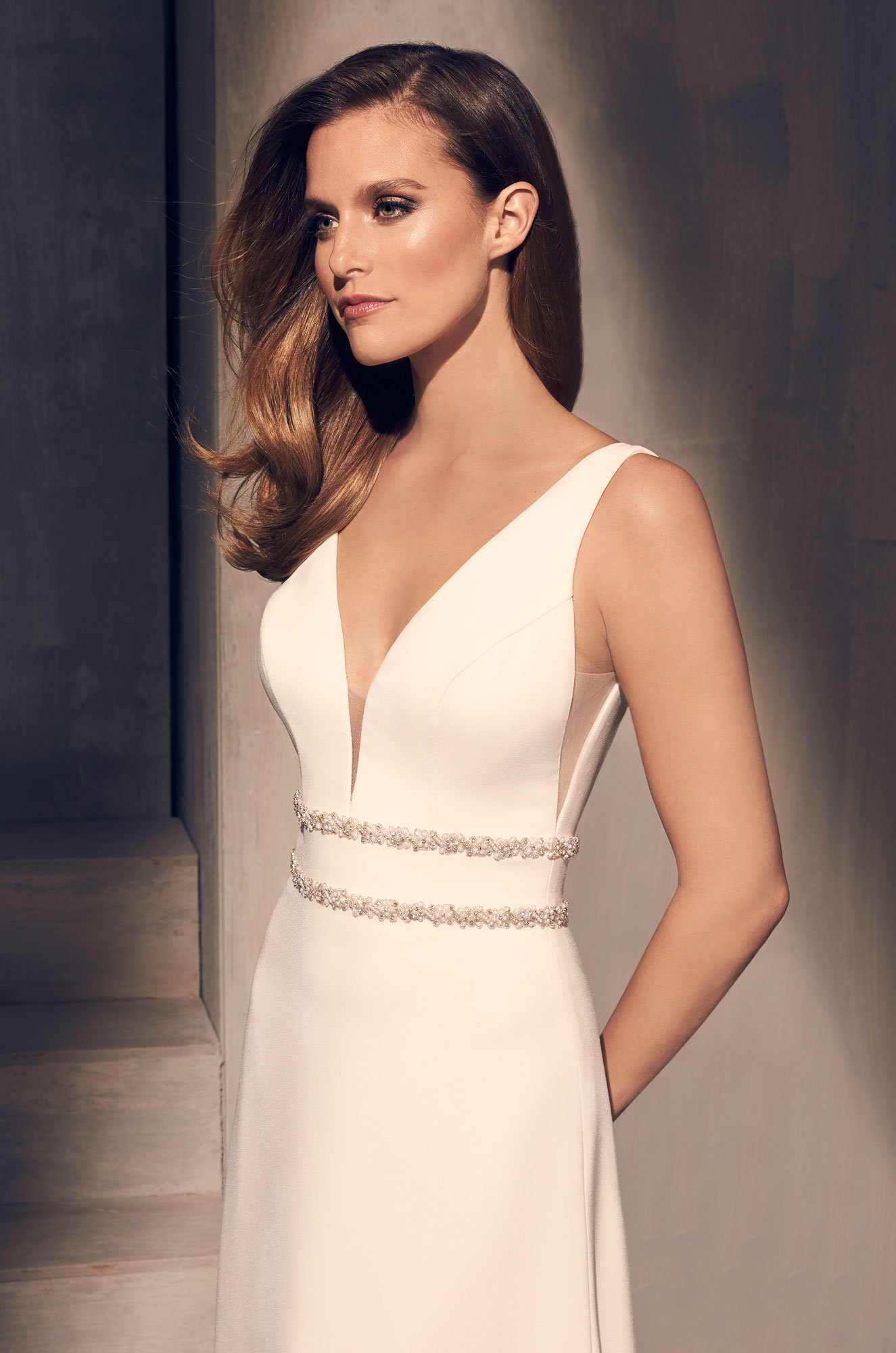 Dazzling Crêpe Wedding Dress - Style #2214 | Mikaella Bridal