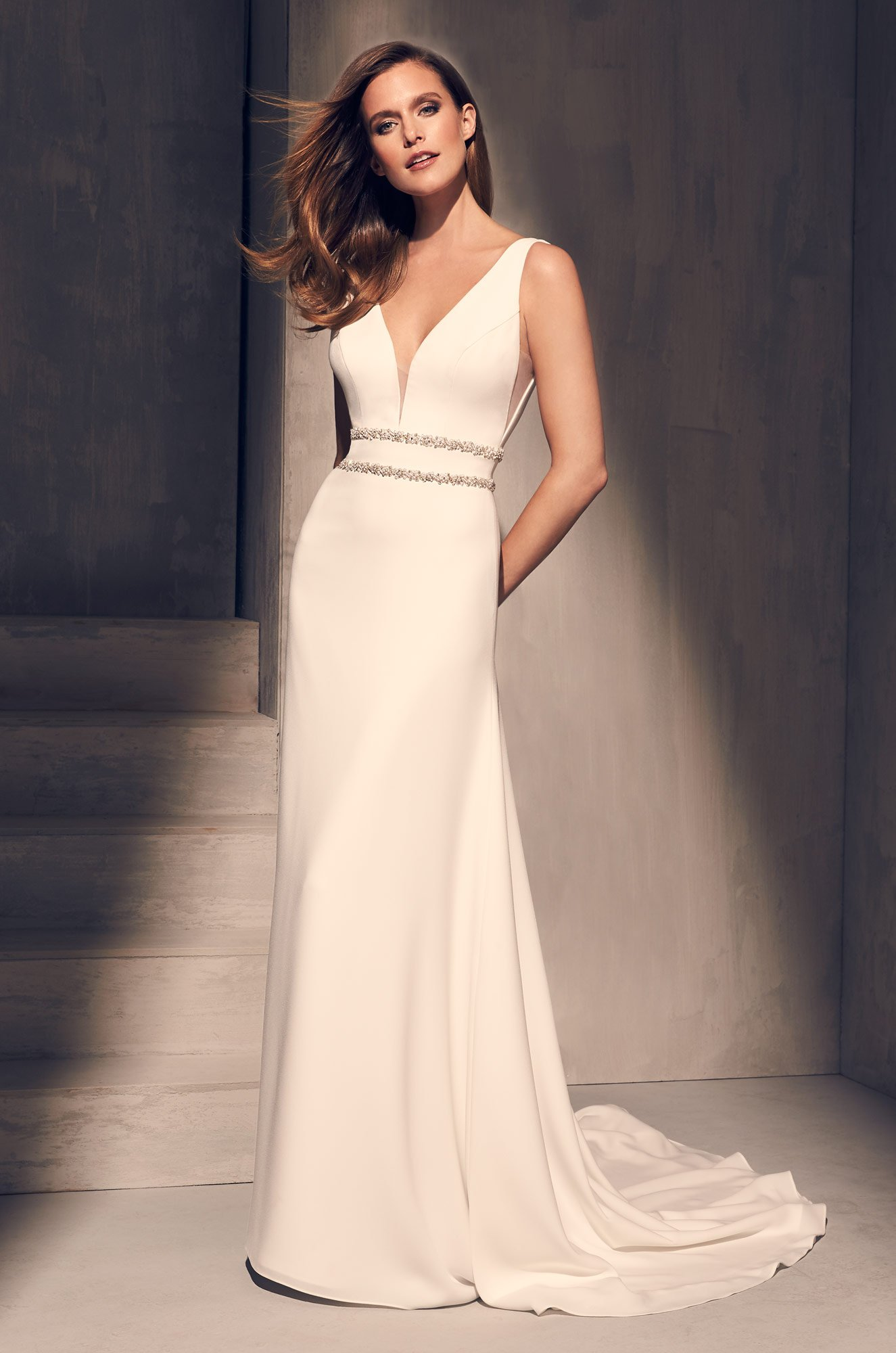Dazzling Crêpe Wedding Dress – Style #2214 | Mikaella Bridal
