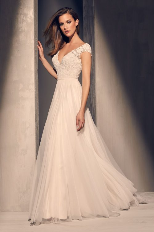 Guipure Cap Sleeve Wedding Dress - Style #2216 | Mikaella Bridal