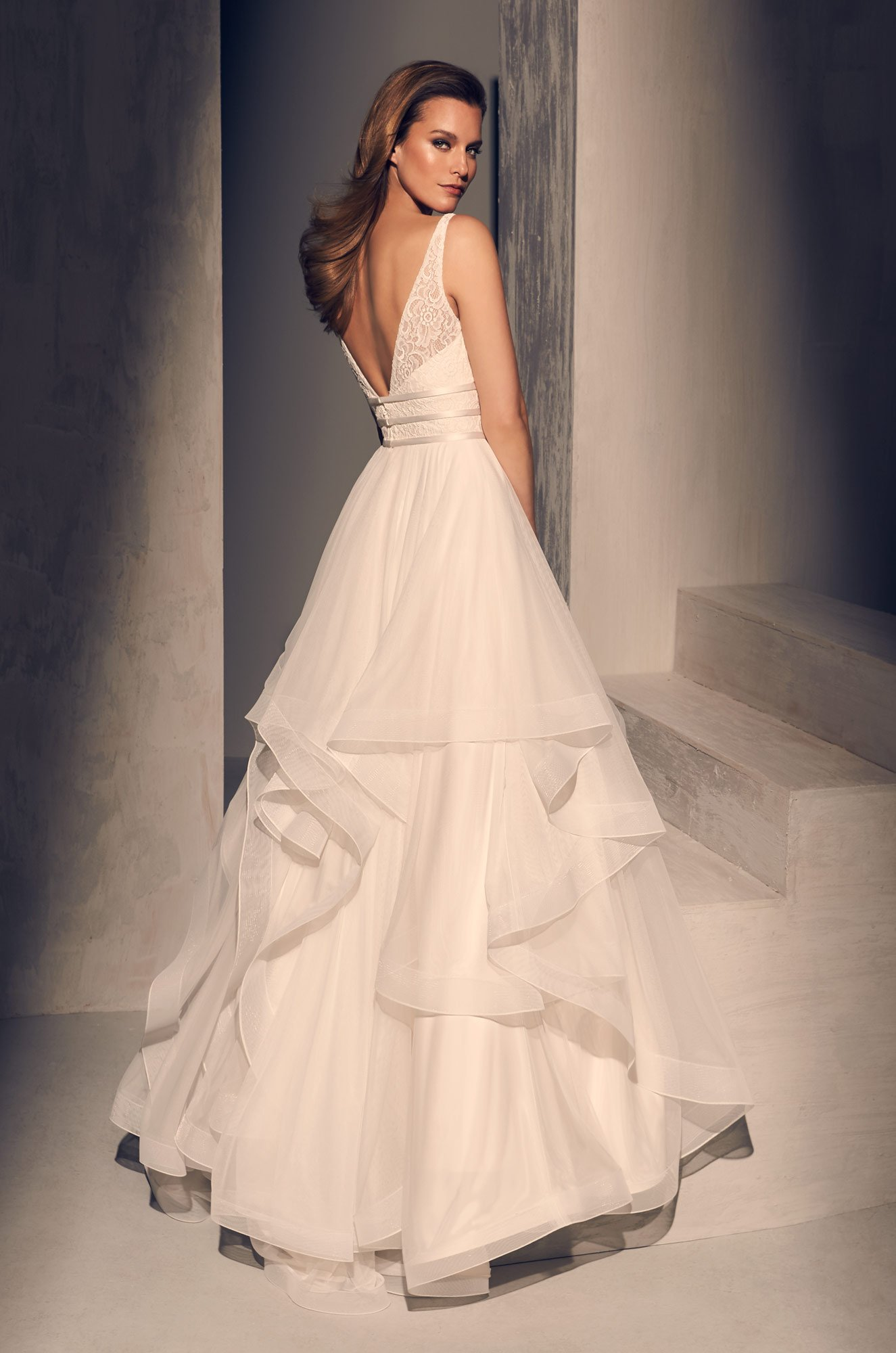 Radiant Ruffled Wedding Dress - Style #2218 | Mikaella Bridal