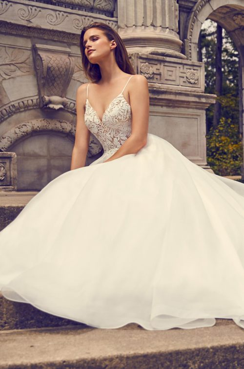 Romantic Lace Bodice Wedding Dress - Style #2225 | Mikaella Bridal
