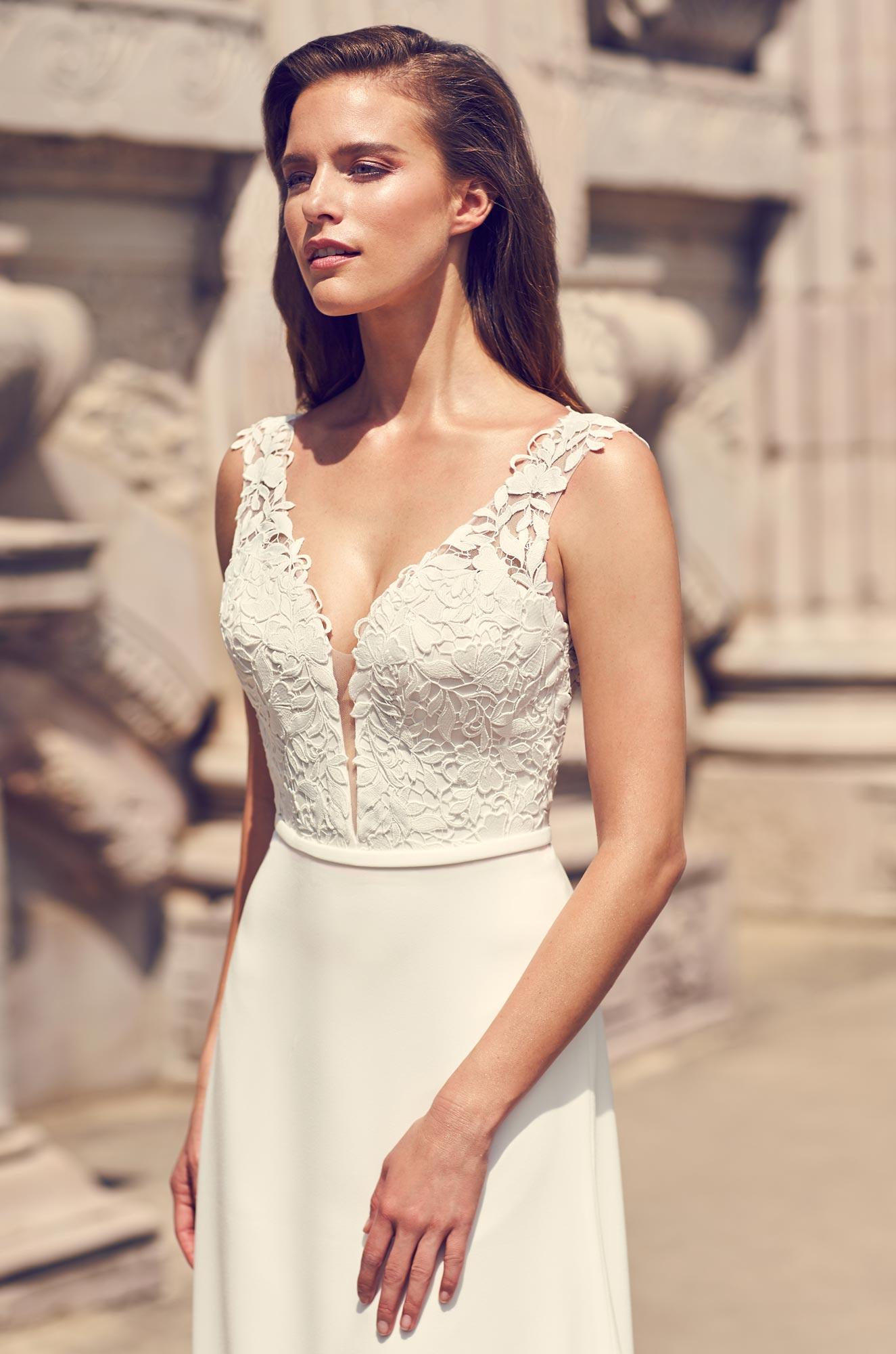 Lace Keyhole Back Wedding Dress - Style #2226 | Mikaella Bridal