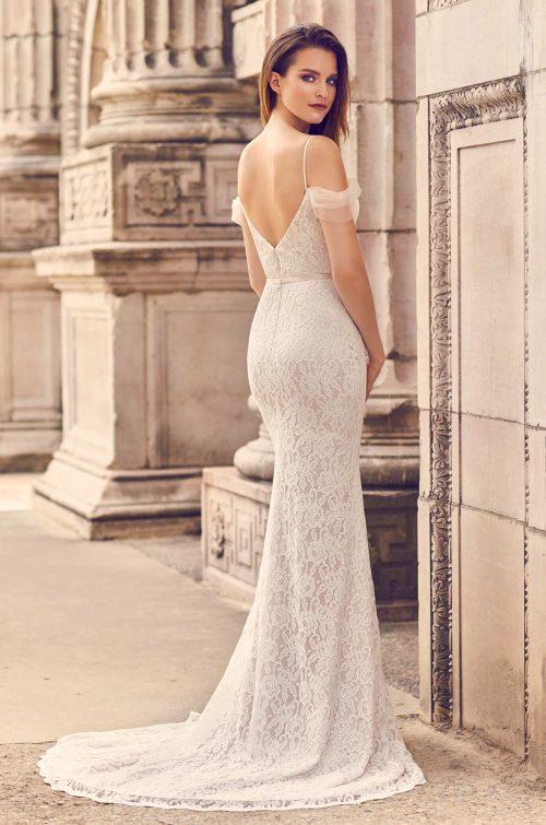 Draped Tulle Sleeve Wedding Dress - Style #2228   Mikaella Bridal