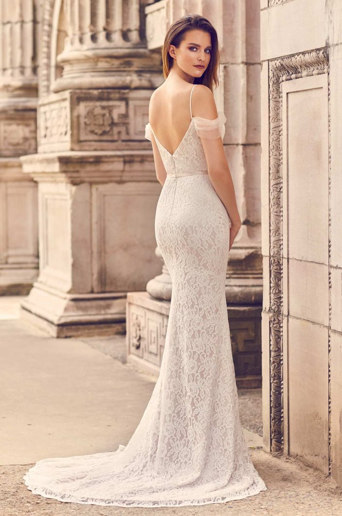 Draped Tulle Sleeve Wedding Dress Style 2228 Mikaella Bridal