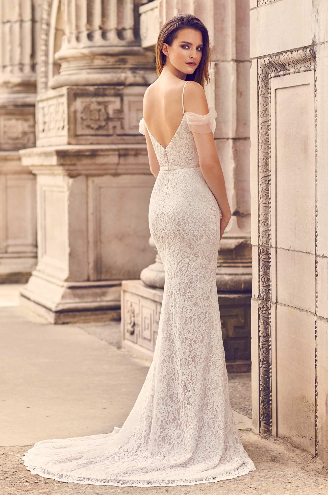 Draped Tulle Sleeve Wedding Dress - Style #2228 | Mikaella Bridal